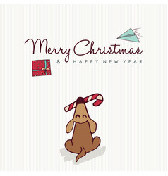 Christmas and new year cute puppy cartoon card vector
