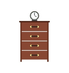 Dresser with a clock flat icon vector