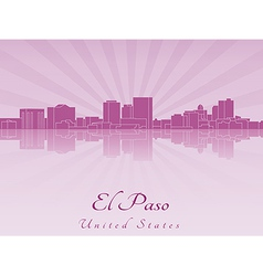 El Paso skyline in purple radiant orchid vector image vector image