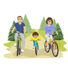 Family riding bicycles in summer in countryside vector