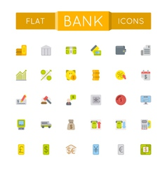 Flat bank icons vector