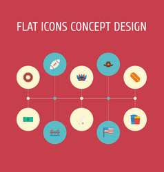 Flat icons indian mascot sausage sport and other vector