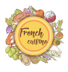 French cuisine hand drawn menu design with cheese vector