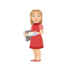 Girl dressed as painter with palette and album vector