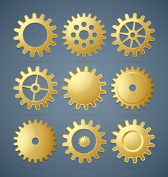 Golden cogwheels vector