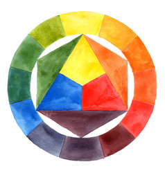 hand drawn watercolor color wheel vector image vector image