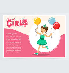 Happy girl running with clolrful balloons cute vector