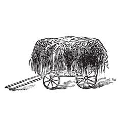 Hay wagon vintage vector