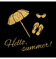 Hello summer Typography Graphic beach umbrella vector image vector image