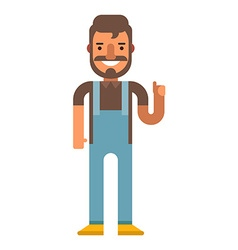 Hipster in denim overalls flat on isolated white vector