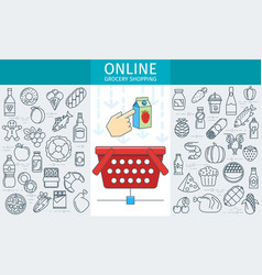 Online rocery store banner vector