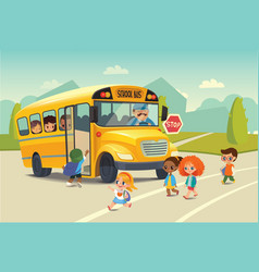 School bus traffic stop law flayer Back To vector image vector image
