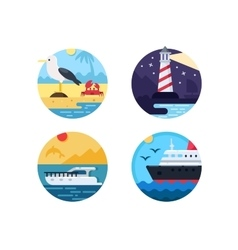 Sea travel set icons vector