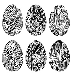 set of black-and-white easter eggs vector image vector image