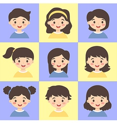 Set of Kids Face Avatar Blue Yellow vector image vector image