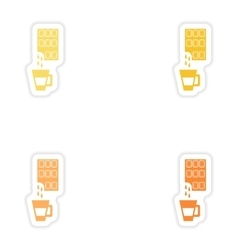 Set of paper stickers on white background cup hot vector