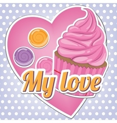 Sweets on a background of heart vector