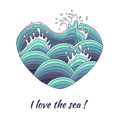 The heart symbolizes love of the sea vector image
