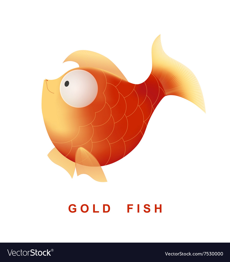 Cartoon gold fish isolated on white background vector