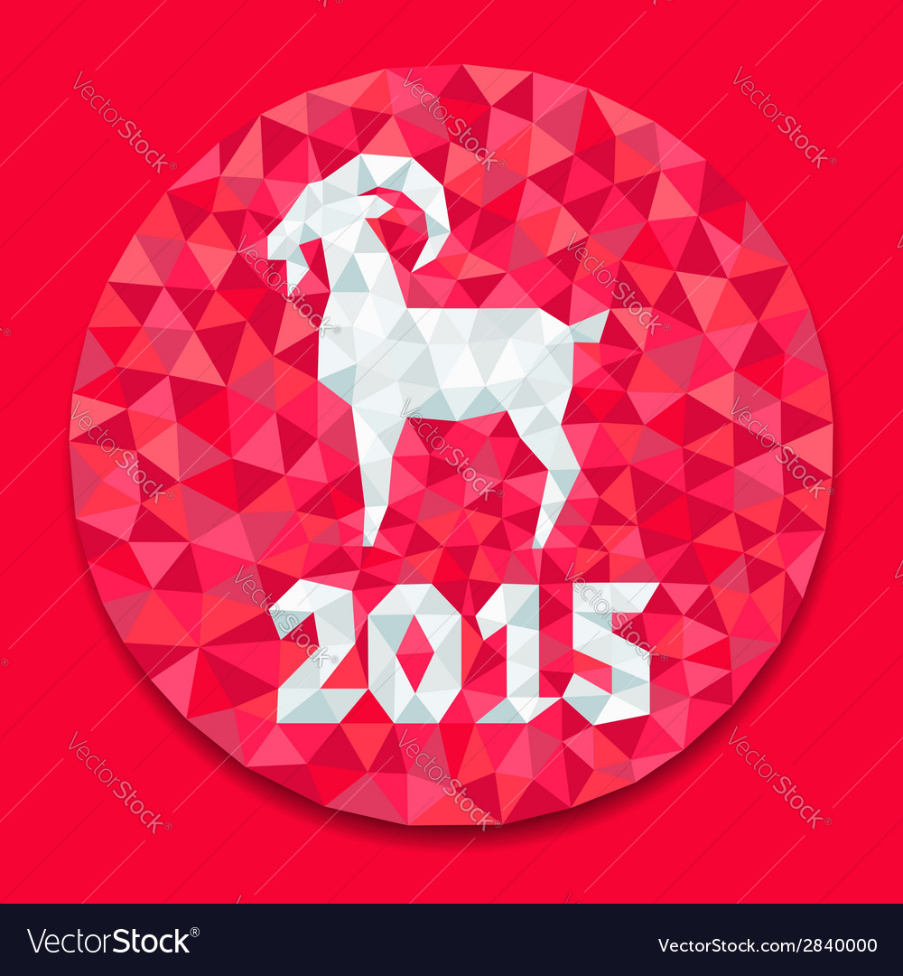 Red goat round vector