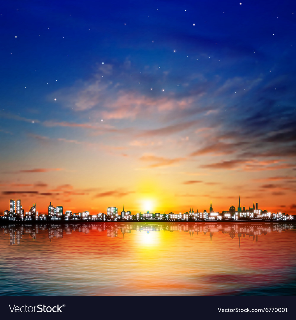 Abstract night background with color sunset in vector
