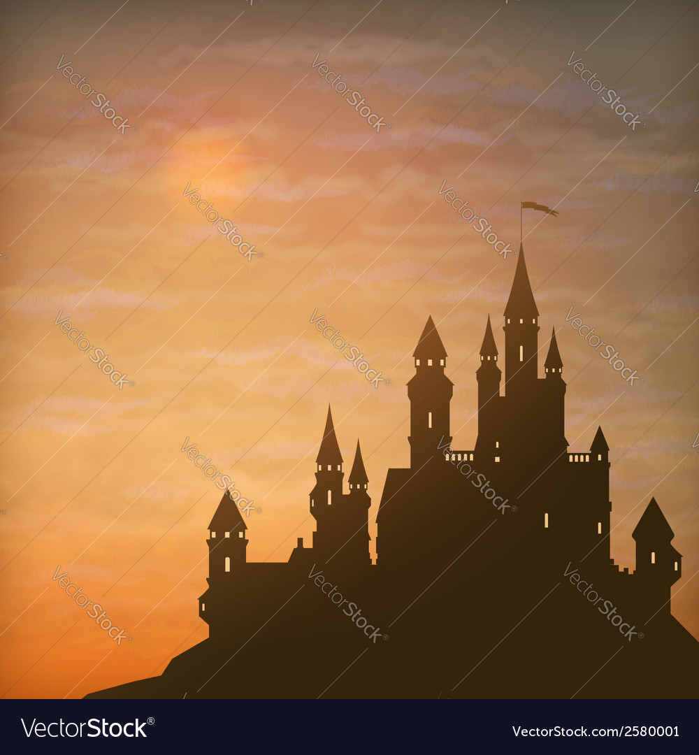 Fantasy castle moonlight sky vector