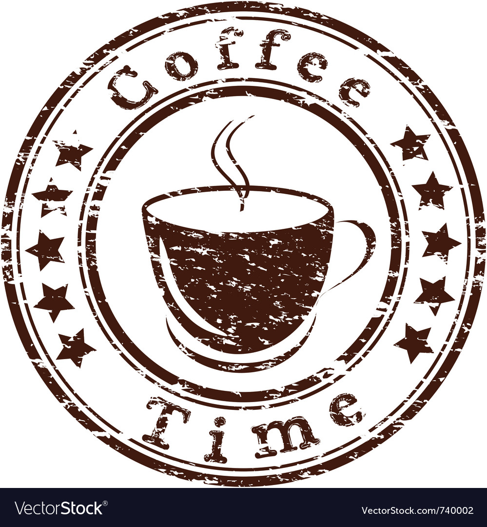 Coffee time grunge stamp with a cup vector
