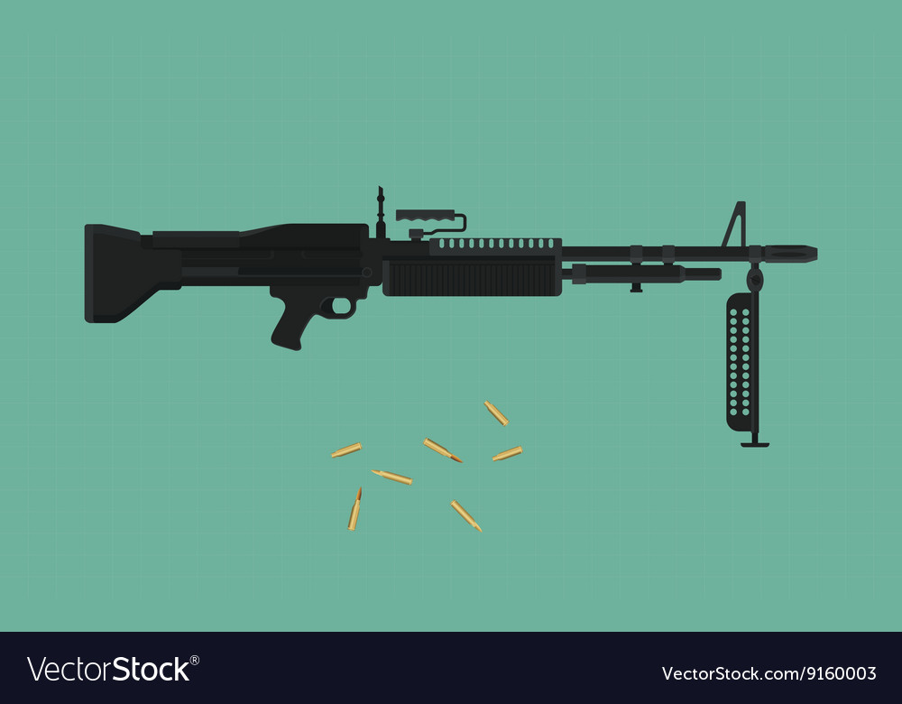 Machine gun single isolated with green background vector