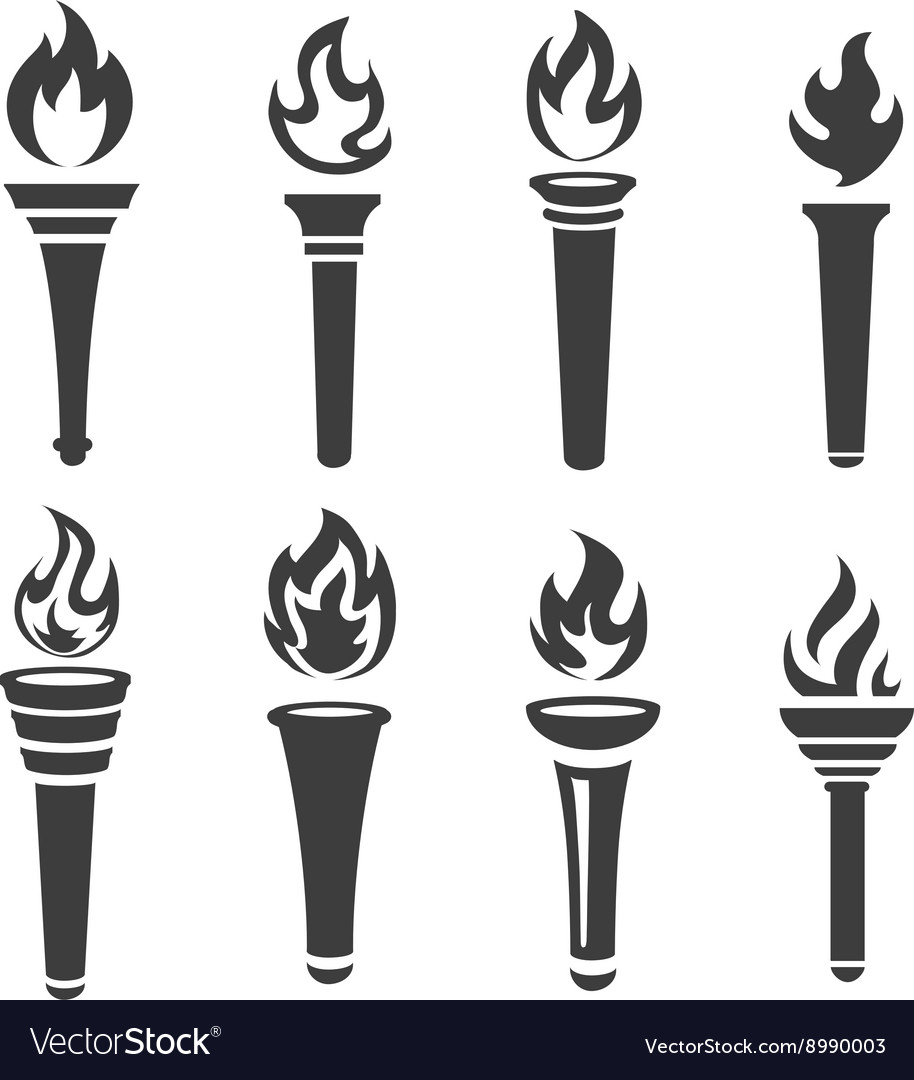 Torch icons black set vector