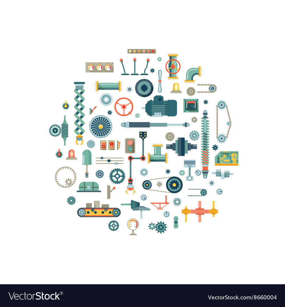 Machine parts flat icons in circle vector