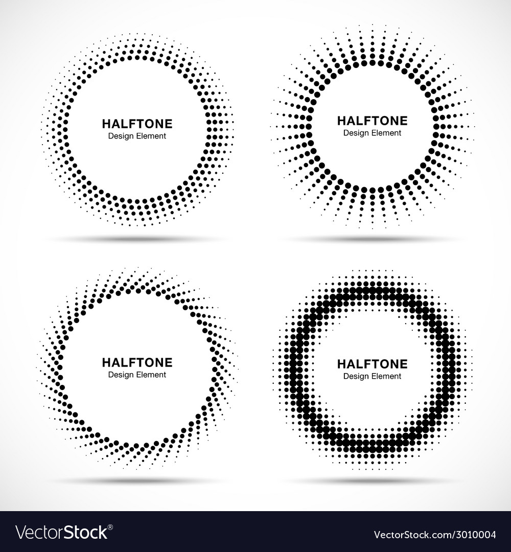 Set of black abstract halftone circles logo vector