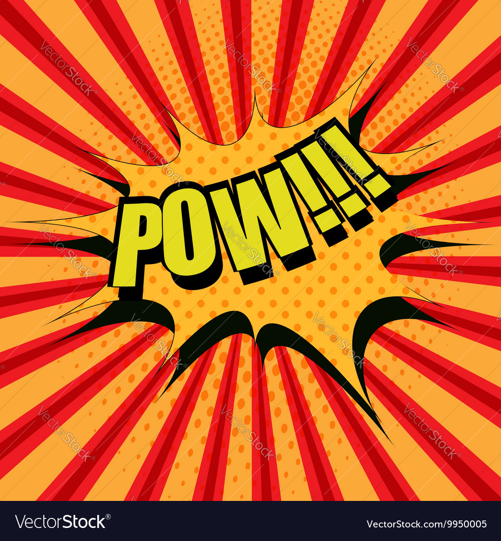 Pow comic cartoon text vector