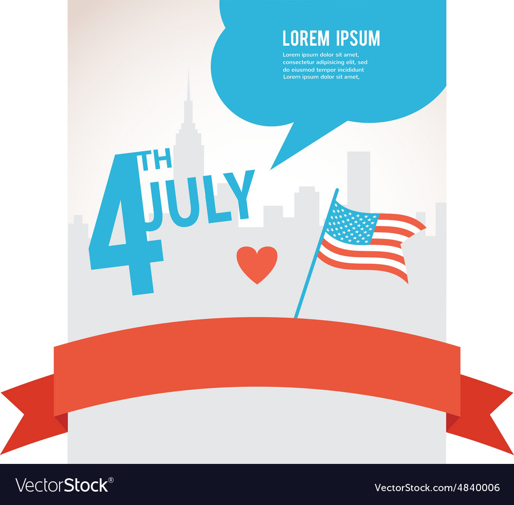Independence day of america flag over city vector