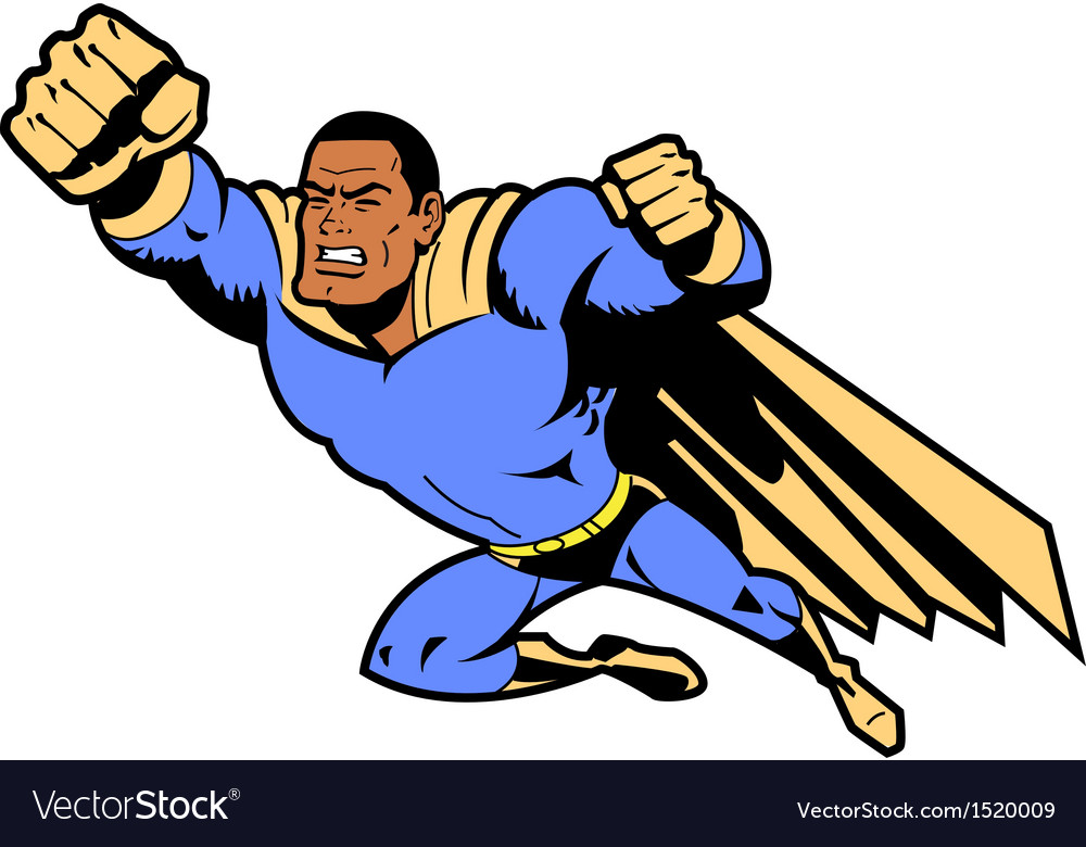 Black flying superhero vector