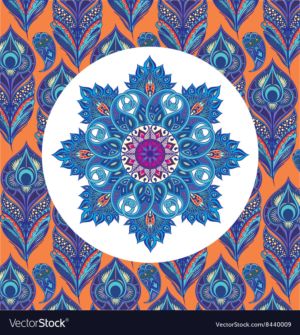 Floral eastern round pattern with peacock feathers vector