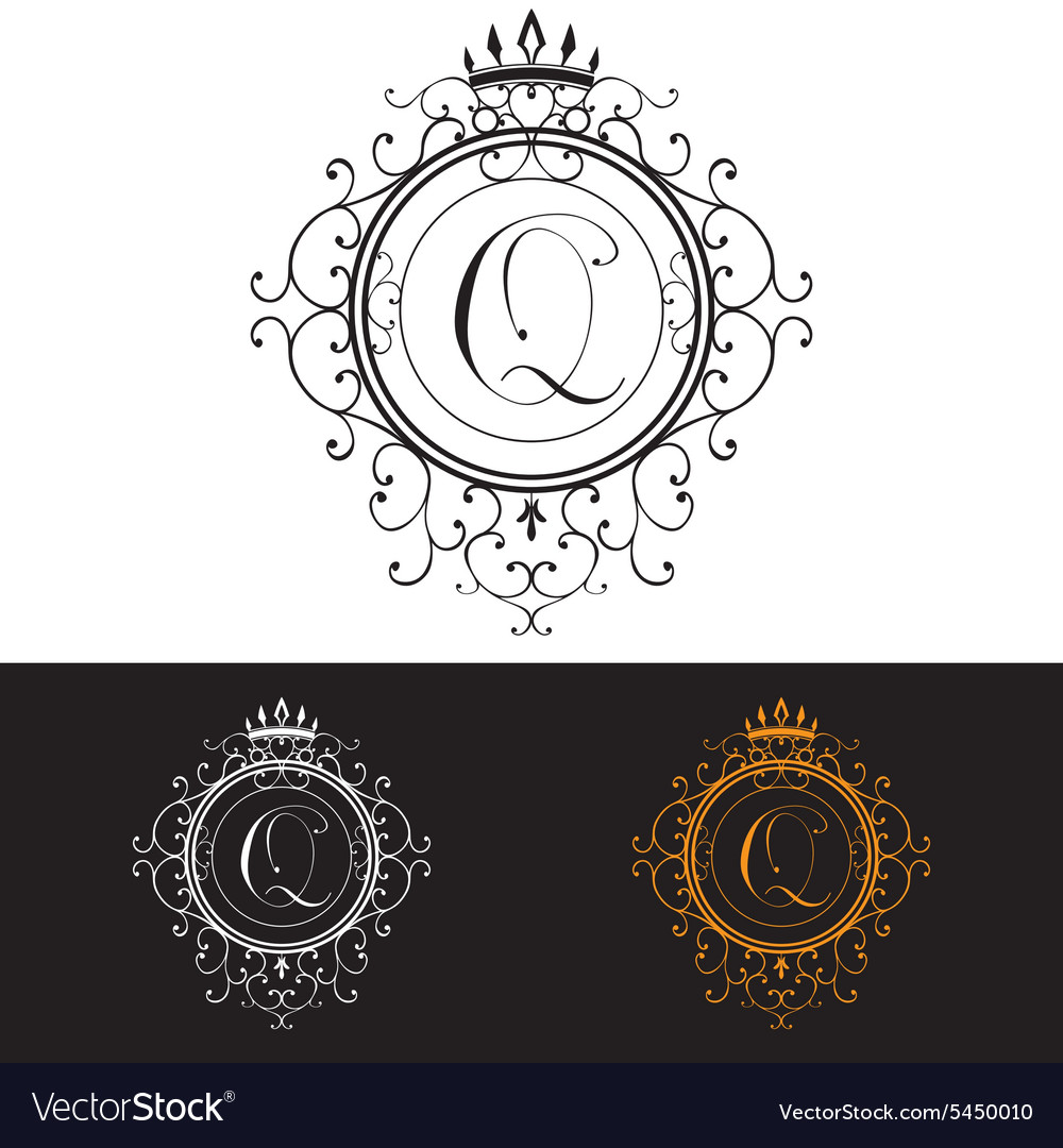 Letter q luxury logo template flourishes vector