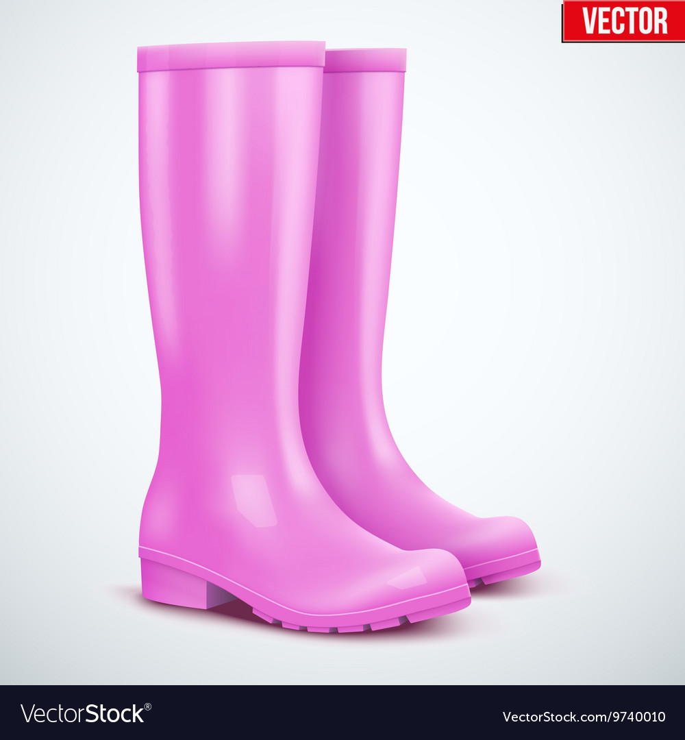 Pair of female pink rain boots vector