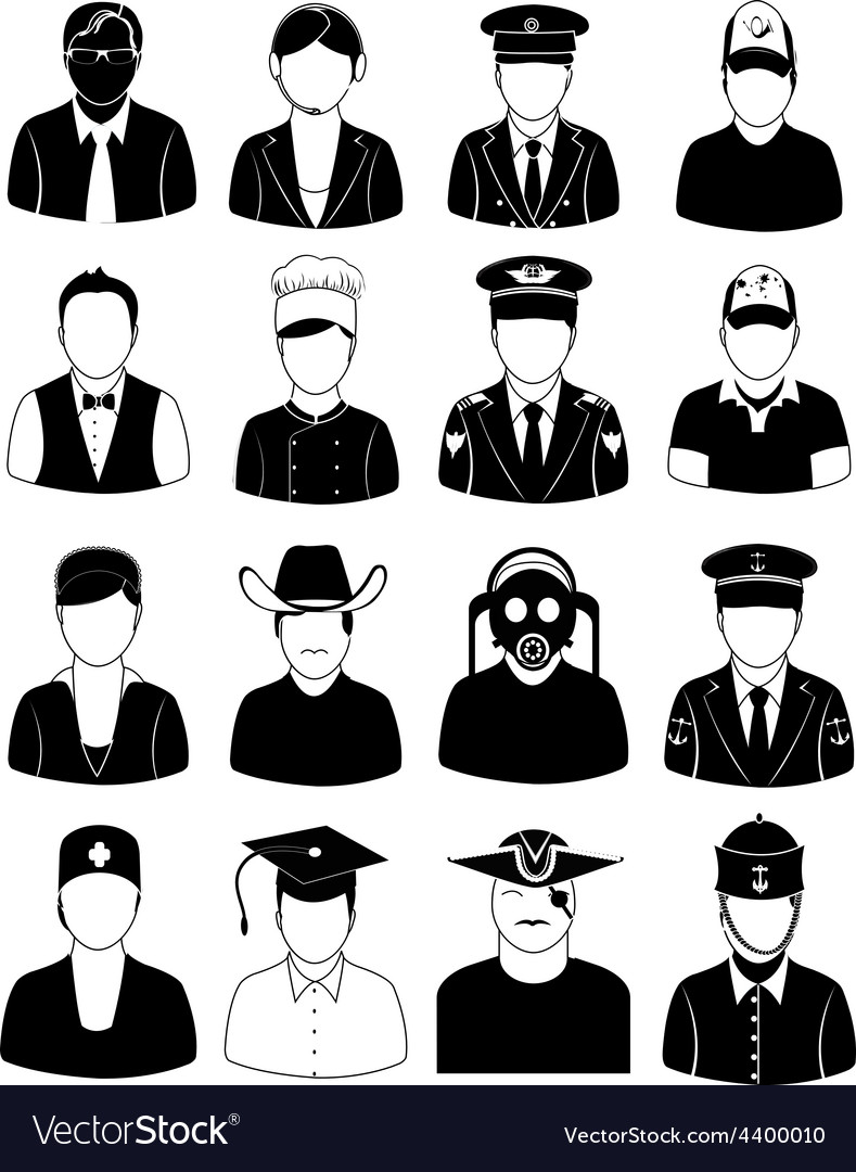 Professional people icons set vector