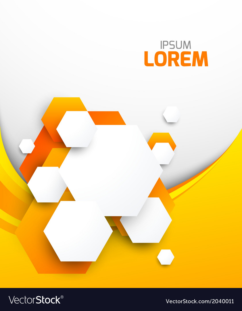 Abstract orange brochure with hexagons vector