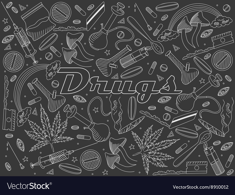 Drugs chalk vector
