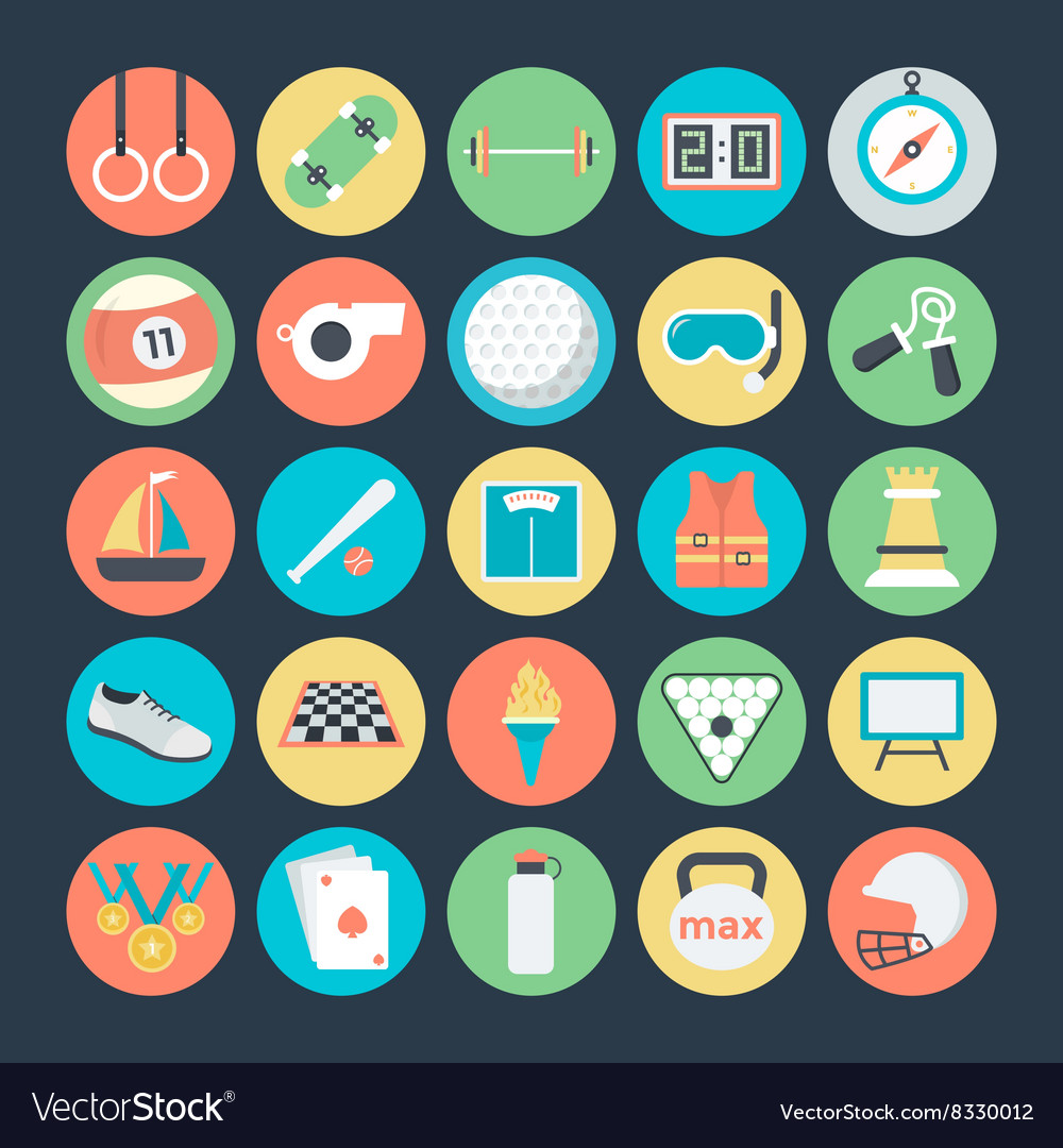 Sports colored icons 2 vector