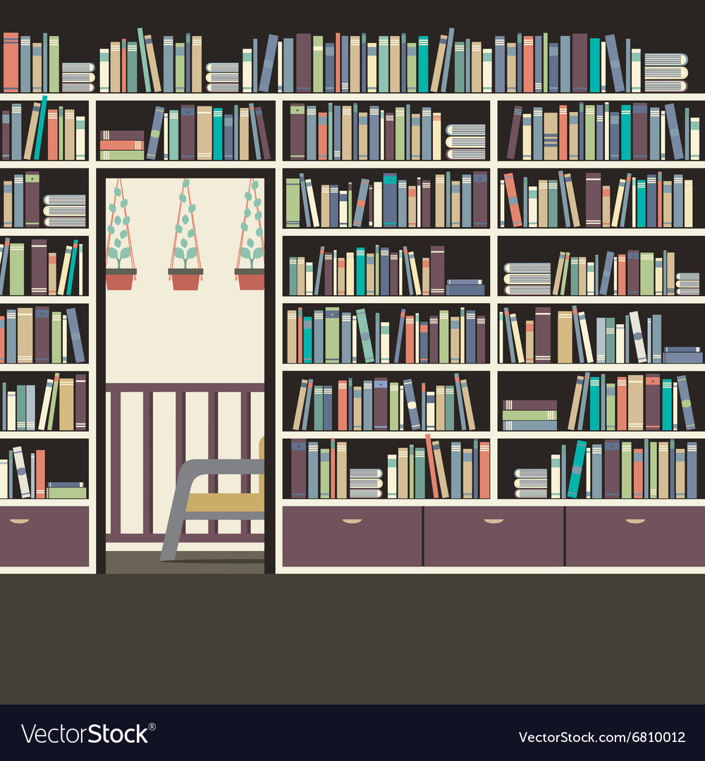 Vintage interior reading room vector