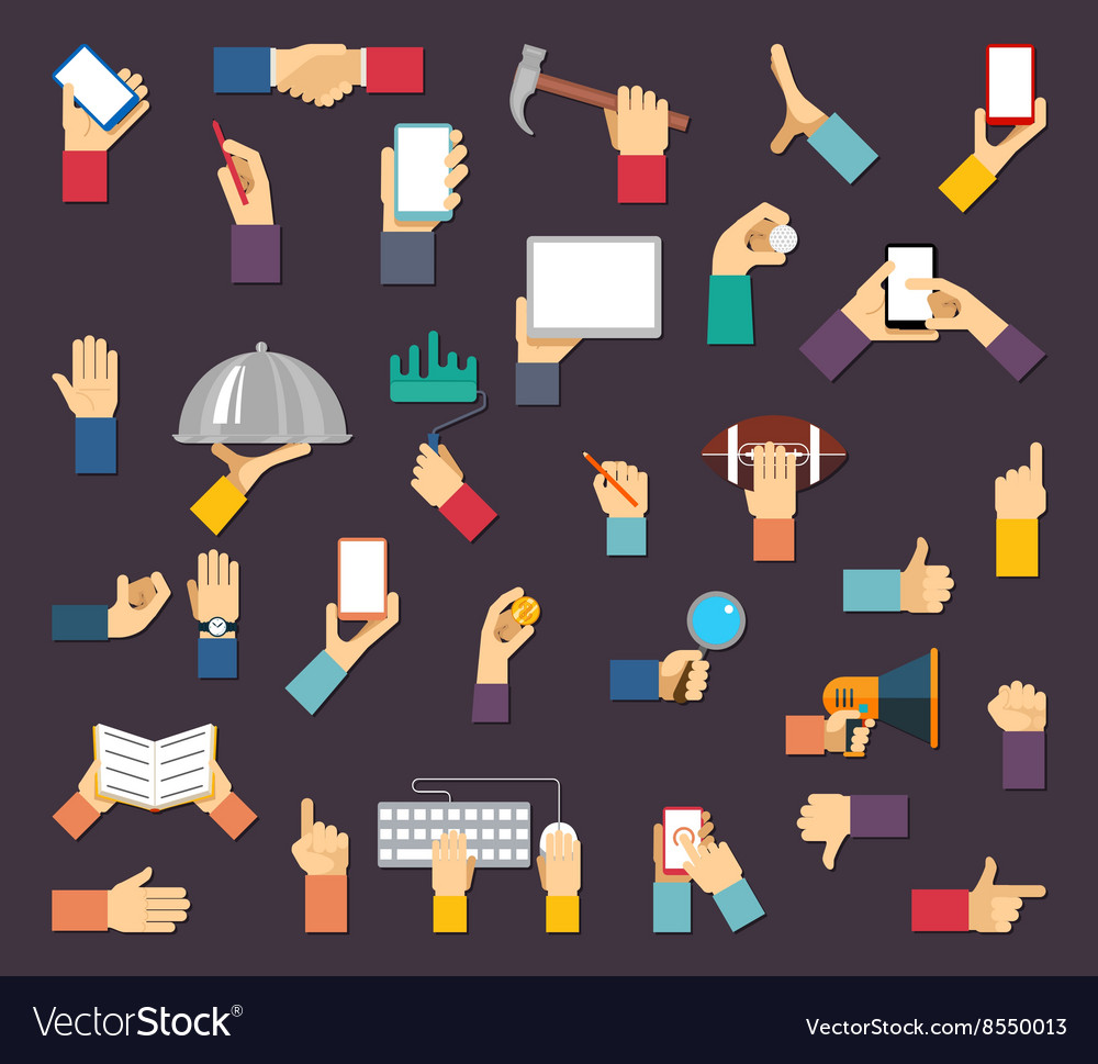 Hands with objects hands hold devices and vector