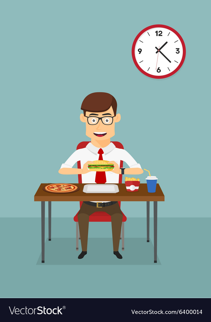 Businessman eating fast food in office cafeteria vector
