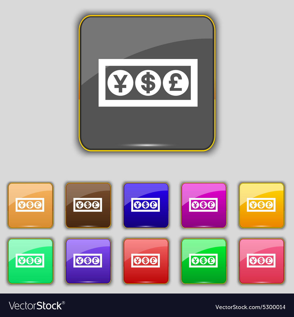 Cash currency icon sign set with eleven colored vector