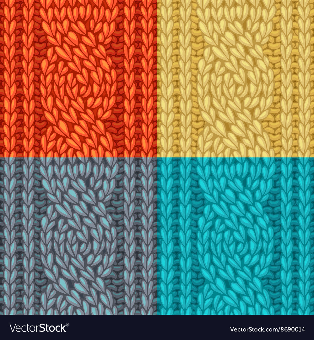 Colourful sixstitch cable stitch textures vector