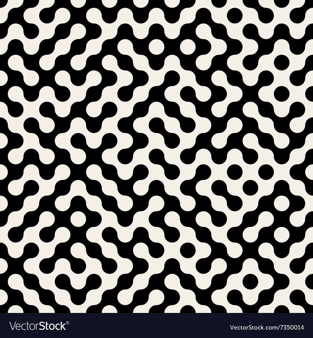 Seamless black white rounded maze pattern vector
