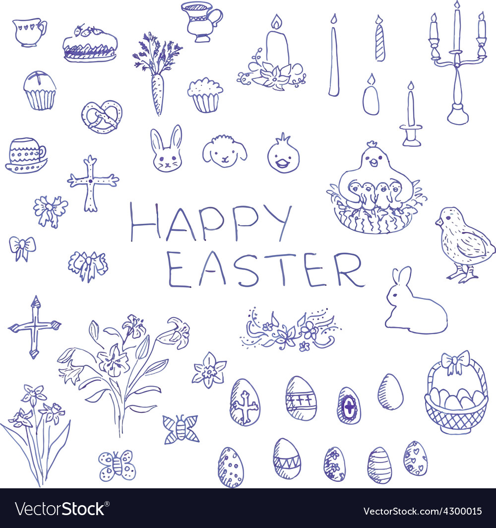Big set of handdrawn sketchy easter objects vector