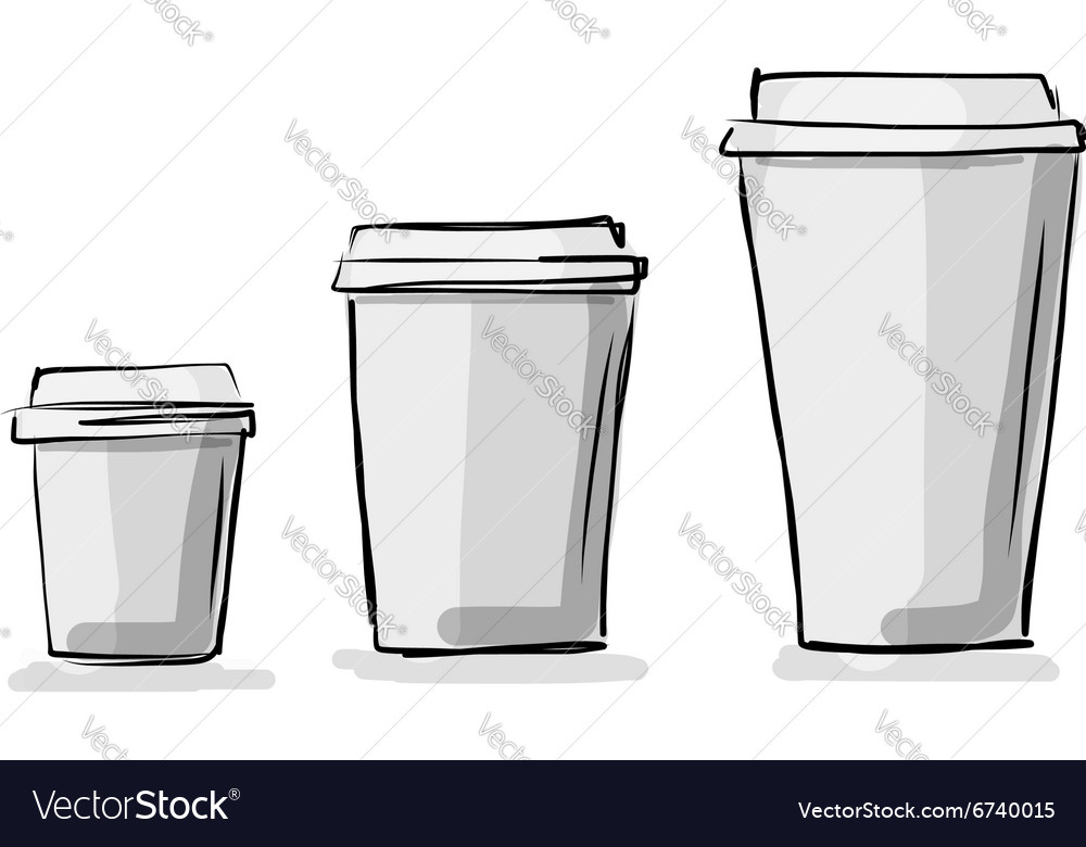 Take away coffee cups sketch for your design vector