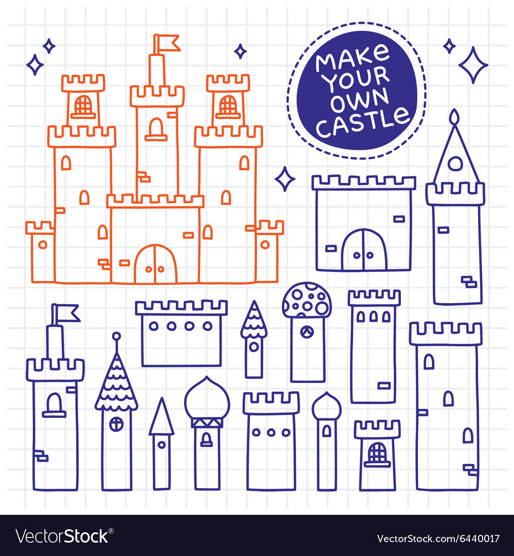 Make your own castle hand drawn doodle tower vector